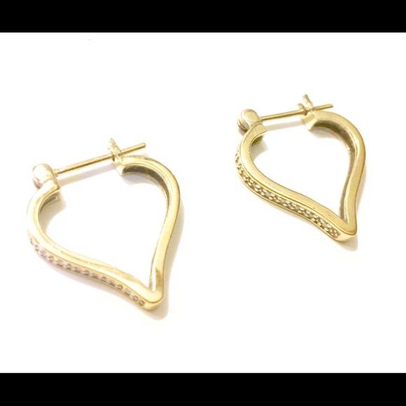 Gold Vermeil Heart Hoop Earrings 925
